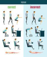 Ícones planas de postura correta e incorreta
