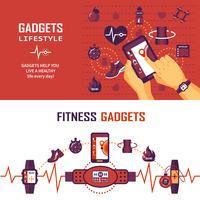 Banners de monitoramento de fitness vetor