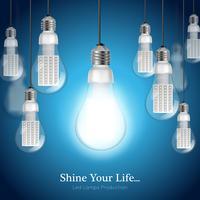 Fundo de lâmpada LED vetor