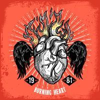 Cartaz ardente do tatuagem do coração vetor