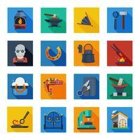 Ícones de ferreiro em quadrados coloridos