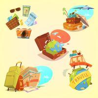 Conjunto de desenhos animados de viagens vetor