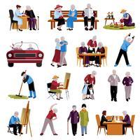 Conjunto de ícones de pessoas idosas vetor