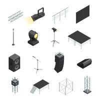 Conjunto de ícones de elementos de palco vetor