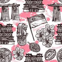 Padrão sem emenda de esboço desenhado de mão de Singapura