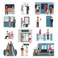Conjunto de pessoas do metrô