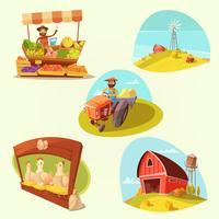 Conjunto de desenhos animados de fazenda vetor
