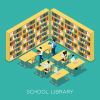 Banner isométrica de biblioteca de educação Middle School