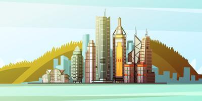 Panorama dos desenhos animados do centro de Hong Kong vetor