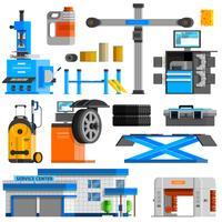 Conjunto de ícones decorativos plana de auto serviço vetor
