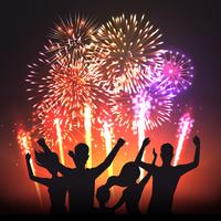 Cartaz de silhuetas humanas festiva preto de fogo de artifício