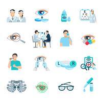 conjunto de ícones plana oftalmologista oculista