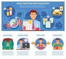 Homem, rotina diária, infográficos