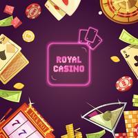 Ilustração dos desenhos animados retrô Royal Casino