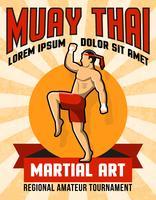 Cartaz tailandês da arte marcial de Muay vetor