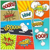 Impressão de composição de bolhas de página de livro de quadrinhos vetor