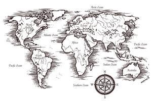 Modelo de mapa do mundo de esboço vetor