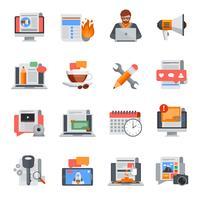 Conjunto de ícones plana de blogging vetor