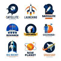 conjunto de emblemas de logotipo de espaço