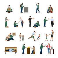 Conjunto de ícones de desabrigados vetor