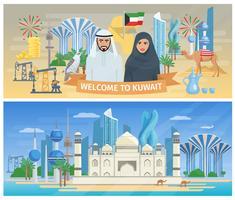 Conjunto de Banner do Kuwait vetor