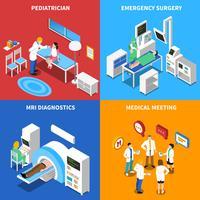 Quadrado de ícones isométrica do paciente 4 hospitalares vetor