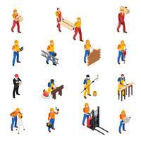 Coleção de ícones isométrica de trabalhadores de construção de construtores
