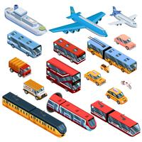 Ícones isométricos de transporte de passageiros vetor
