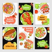 Banners de cartões de frutos do mar vetor