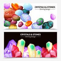Pedras de cristal e rochas Banners vetor