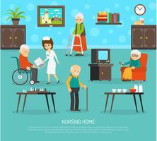 Pessoas idosas lar de idosos Poster plana vetor