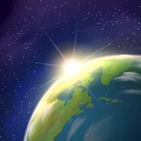 Poster realístico da opinião do espaço da terra do nascer do sol