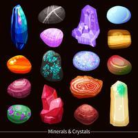 Pedras de cristais e rochas definir plano de fundo vetor