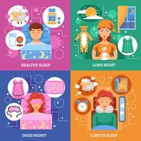 Conceito de sono saudável plana ícones quadrados