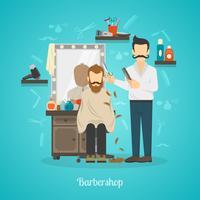 Ilustração de cor de loja de barbeiro vetor