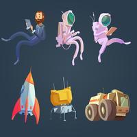 Conjunto de desenhos animados do espaço sideral vetor