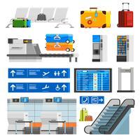 Conjunto de ícones decorativos de cor plana interior de aeroporto
