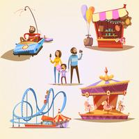 Conjunto de desenhos animados de parque de diversões
