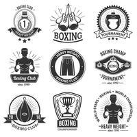 Emblemas de boxe preto sobre fundo branco vetor