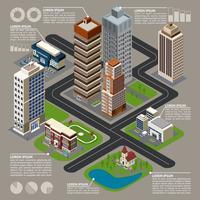 Infografia de cidade isométrica vetor