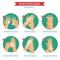 Conjunto de ícones plana de mãos lavar vetor