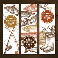 Conjunto de Banners verticais de pesca vetor