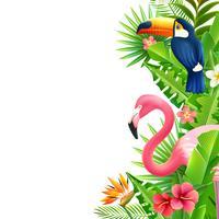 Borda colorida vertical do flamingo da floresta tropical