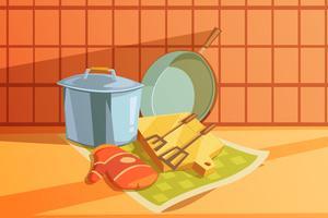 Ilustração de utensílios de cozinha vetor