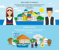 Conjunto de Banner de viagens na Grécia vetor