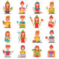 Conjunto de ícones de cor plana de dona de casa vetor