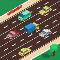 Ilustração isométrica de rodovia