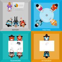 Reuniões de pessoas de negócios Top View Set vetor