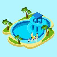 Família na ilustração do parque aquático