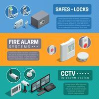 Conjunto de Banners isométrica de sistema de segurança em casa vetor